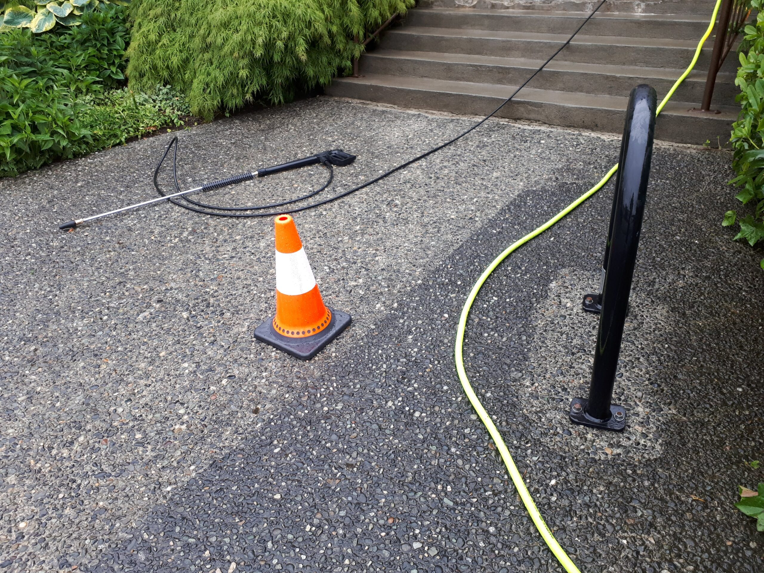 power washing safety precautions when cleaning aggregate on commercial property in vancouver